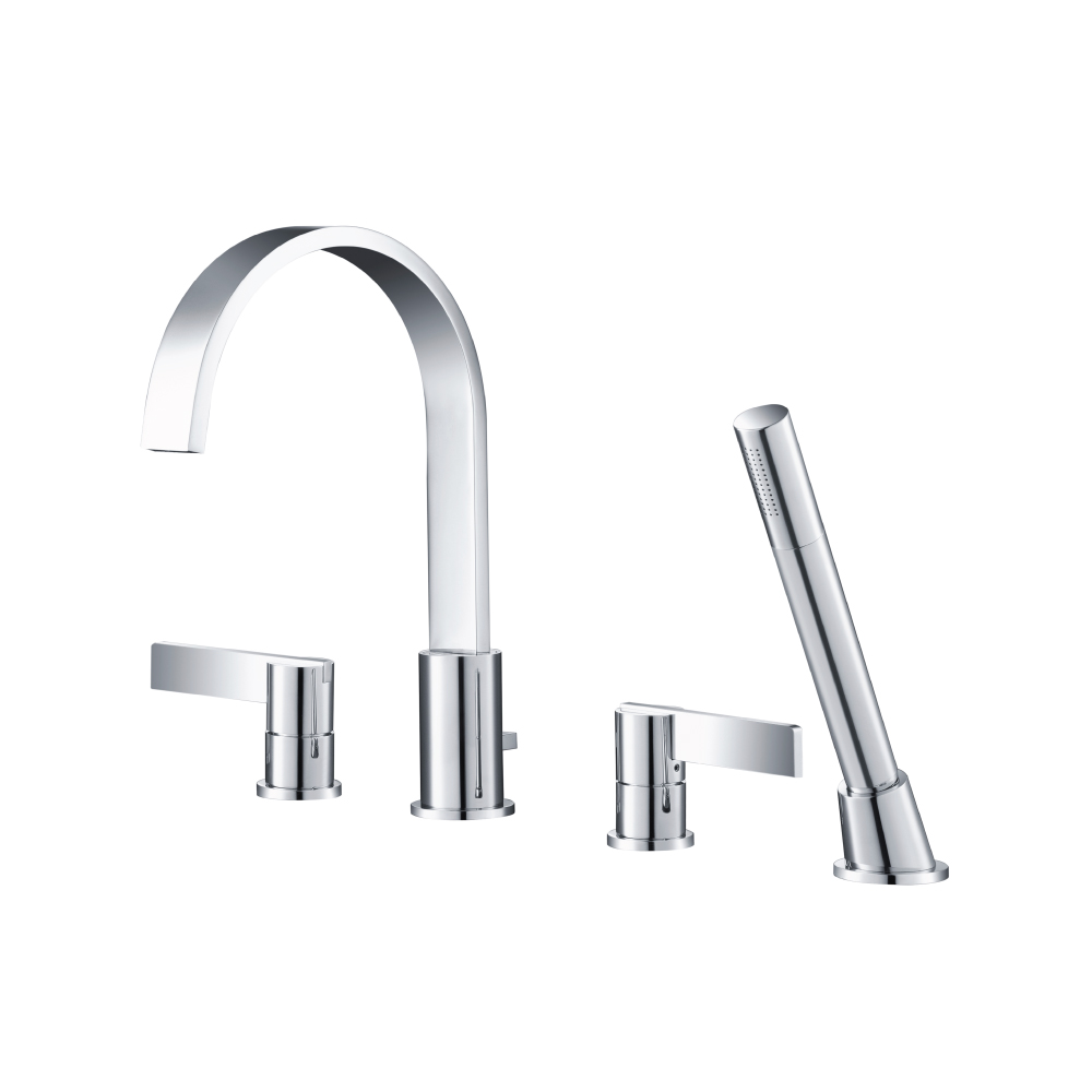 145 2400 4 Hole Deck Mounted Roman Tub Faucet With Hand Shower Isenberg