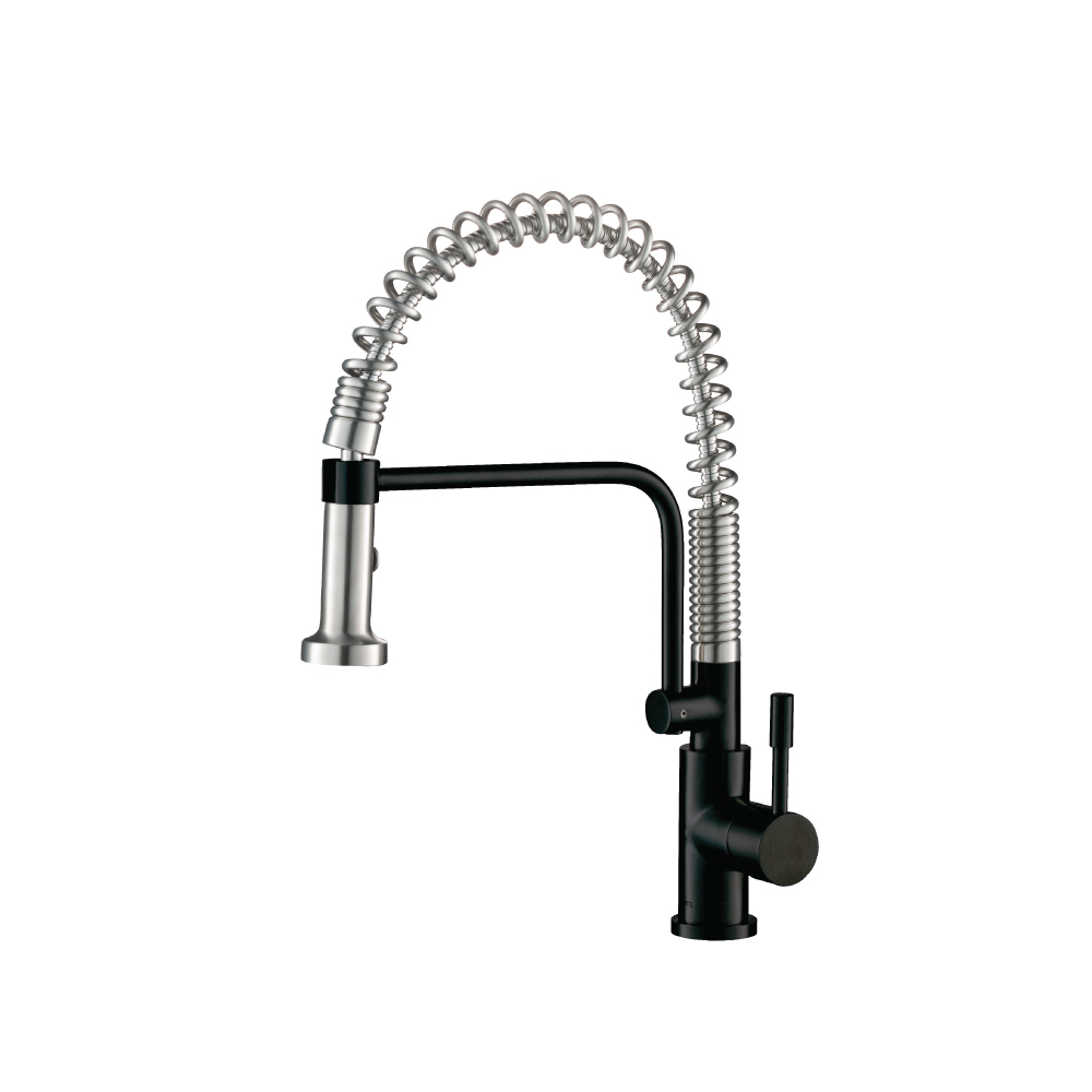 Gloss Black Kitchen Faucet with spring