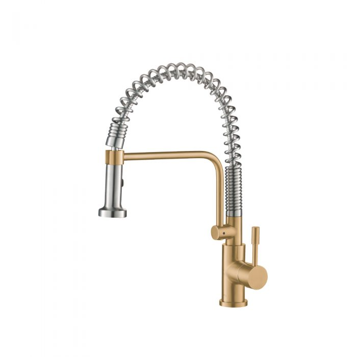 Matte Gold Kitchen Faucet with spring