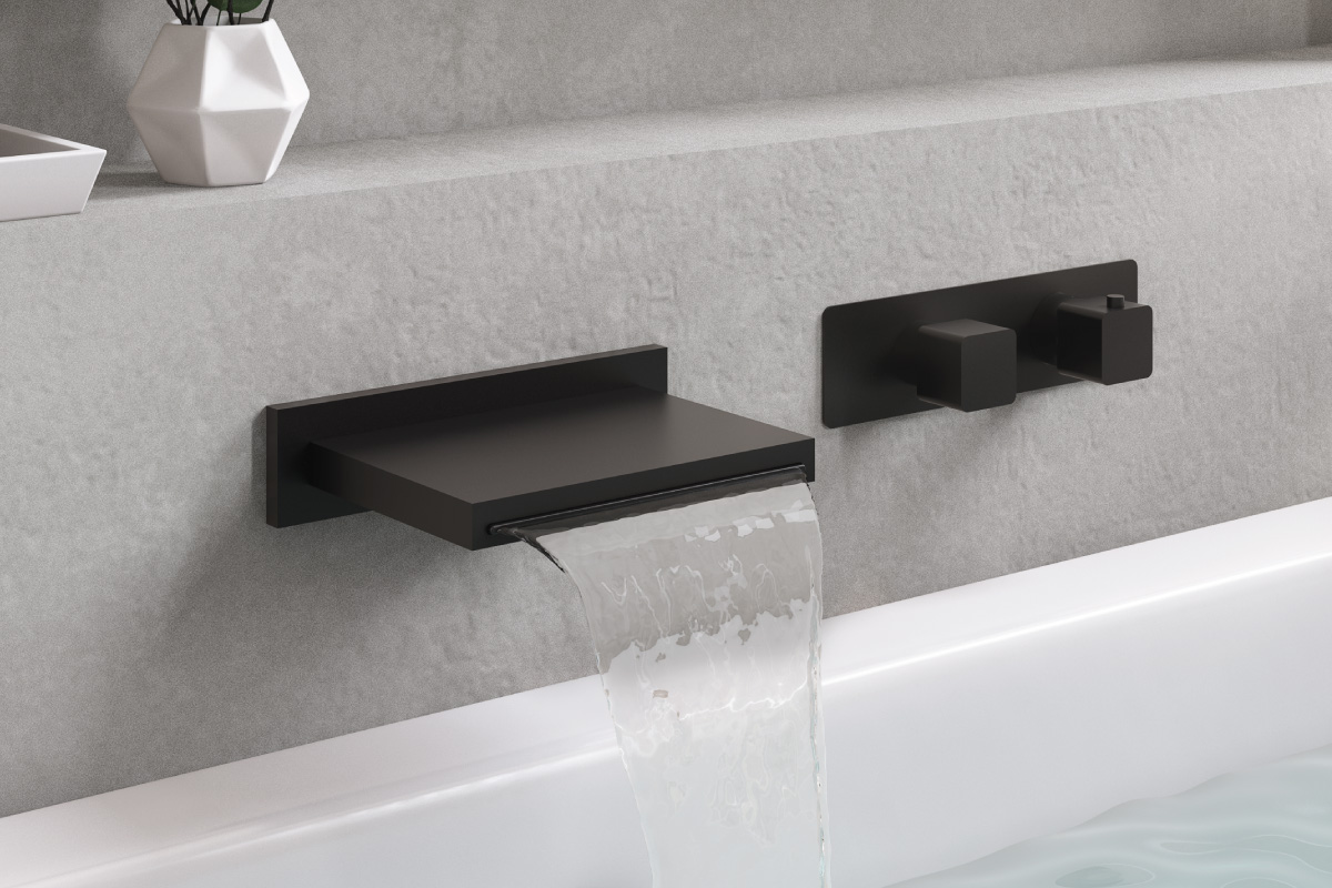 matte black high flow tub filler on pony wall