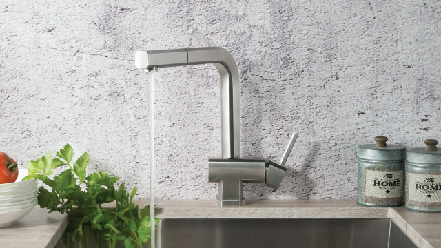 concrete back splash with bar faucet