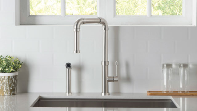 industrial kitchen faucet with side spray