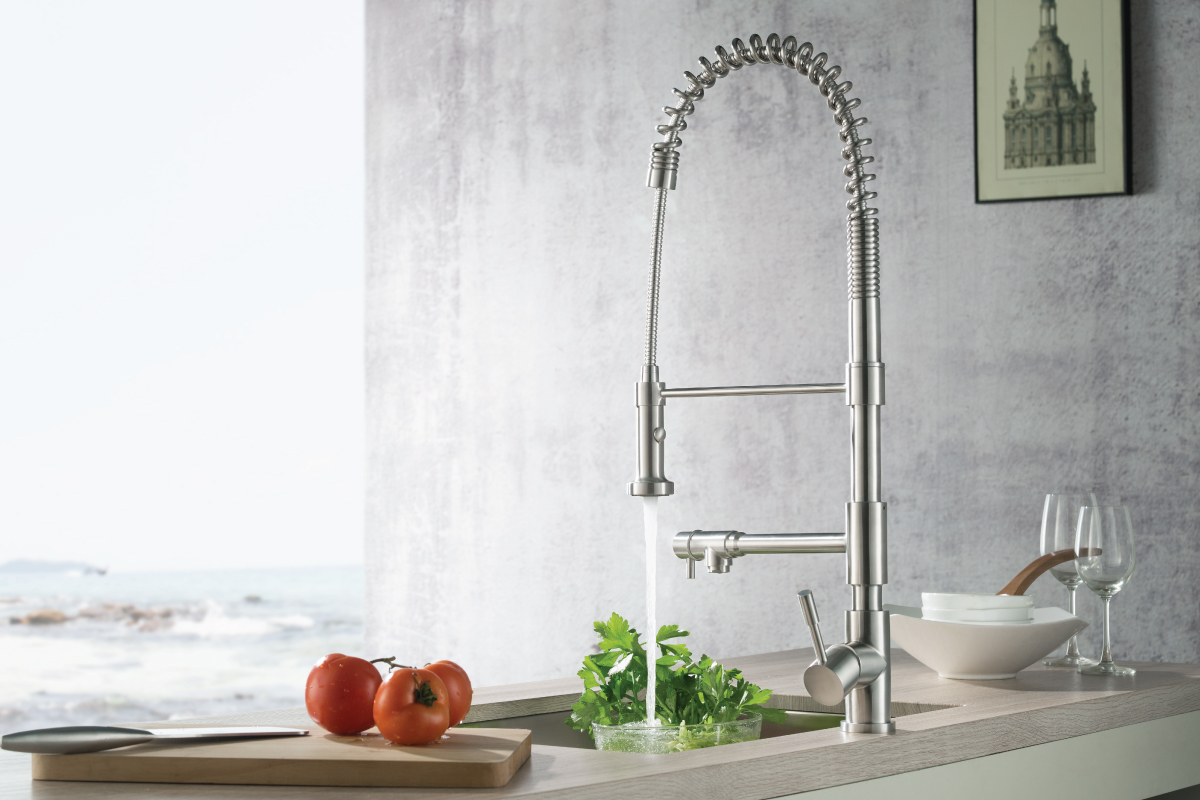 tall kitchen faucet with pot filler