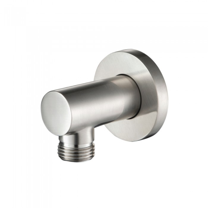 brushed nickel round wall supply elbow
