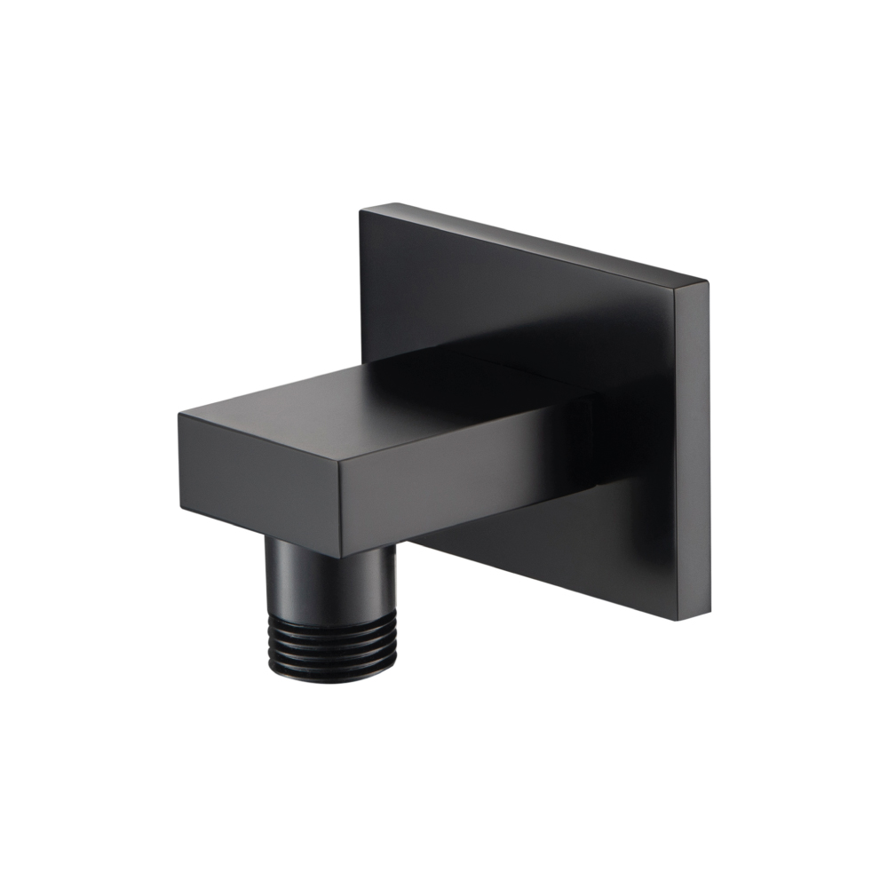matte black square wall supply elbow