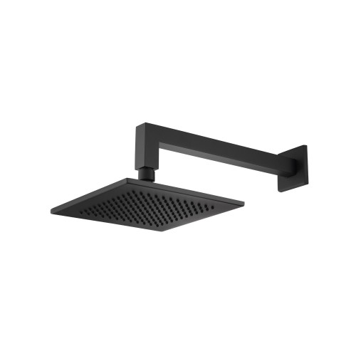 modern rainhead with wall mount arm in matte black