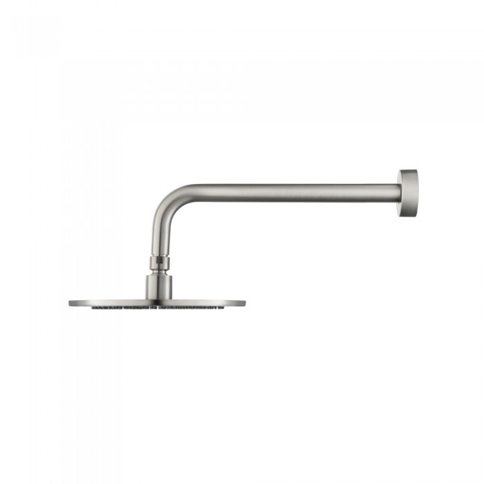 modern round rainhead with wall mount arm in brushed nickel