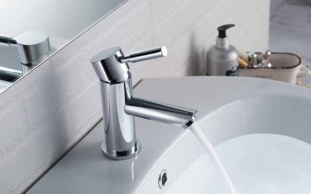 modern round single hole faucet
