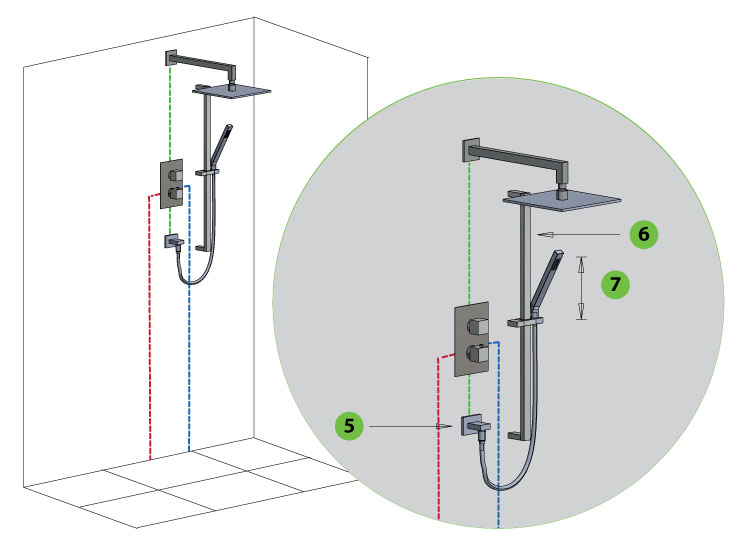 thermostatic shower with rain shower head and slide bar with hand shower