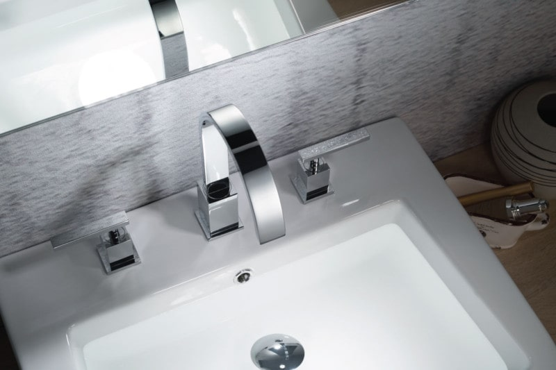 three hole faucet with goose neck