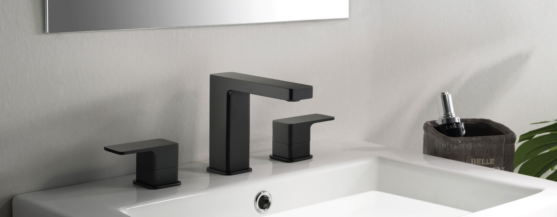 matte black bathroom sink faucet on white modern vanity
