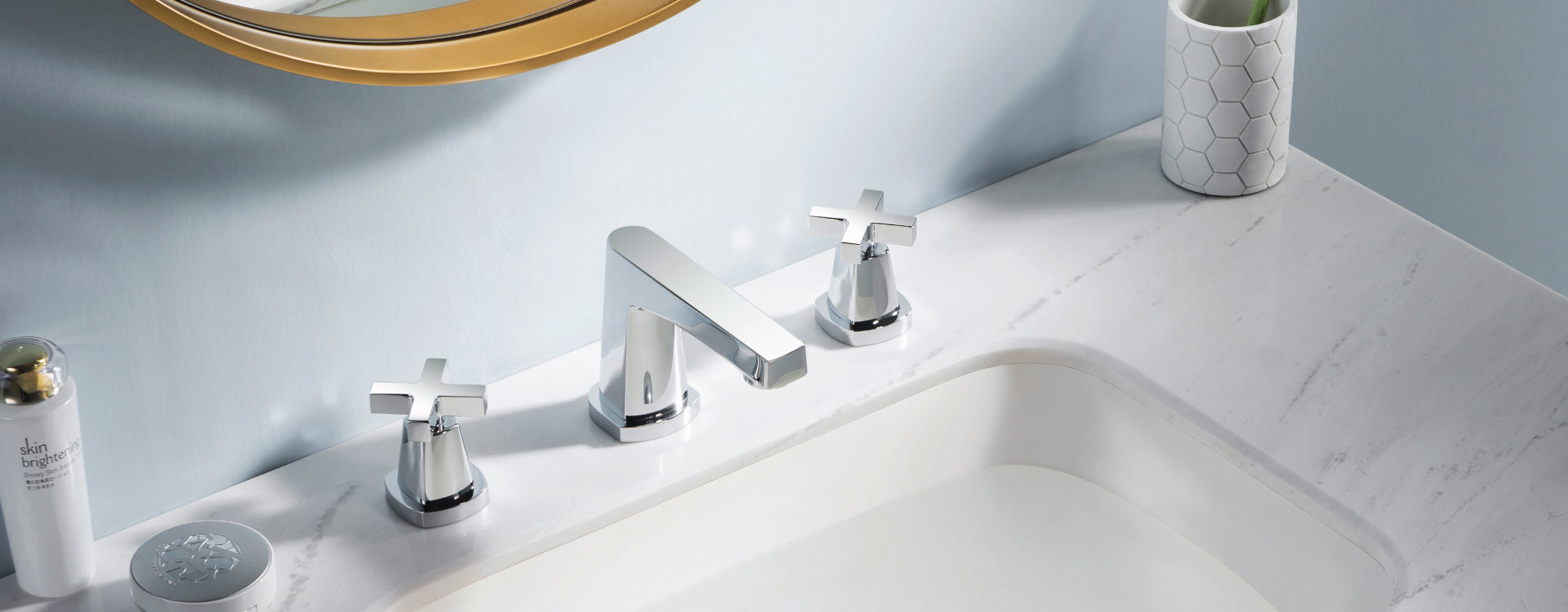 transitional faucet with cross handles