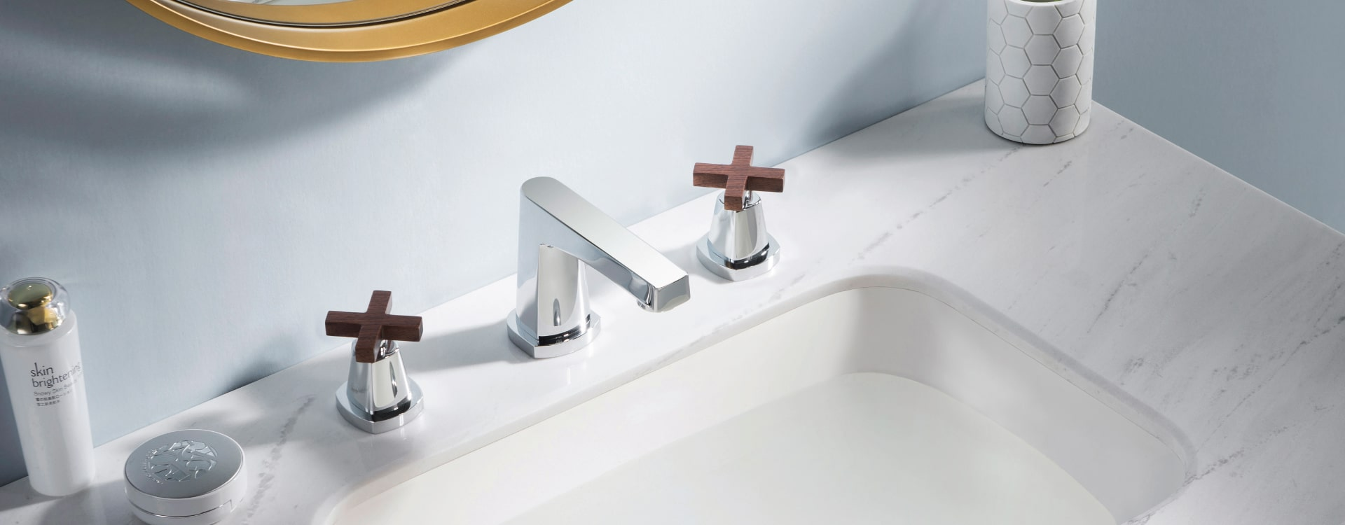 farmhouse bathroom faucet with wood handles