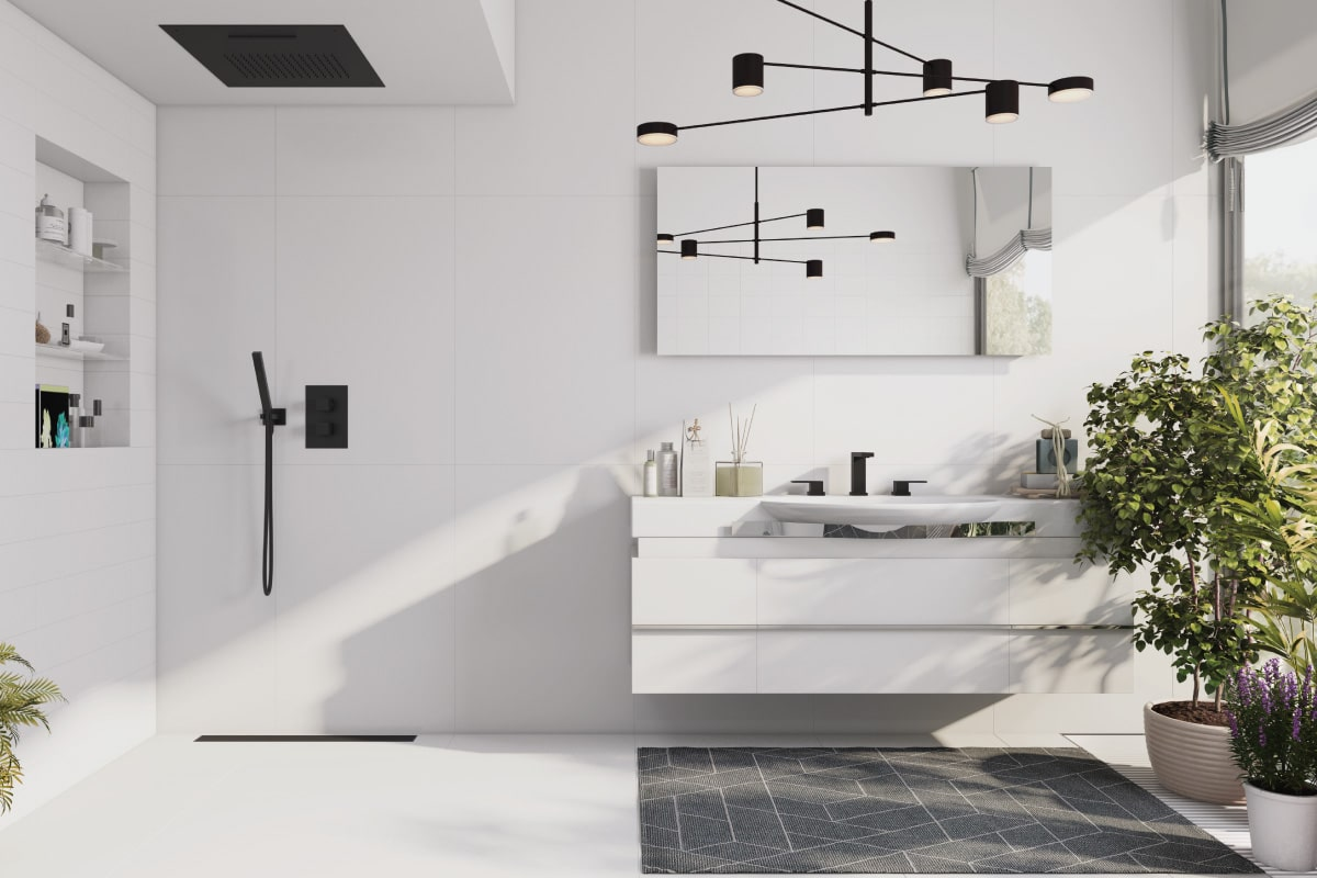 white bathroom with matte black shower