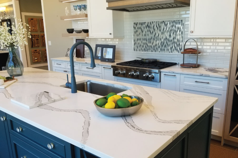 Navy Blue Kitchen Island With White Markble
