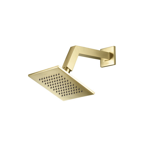 """Satin Brass Gold 6"""" Shower Head With Arm - Square"""